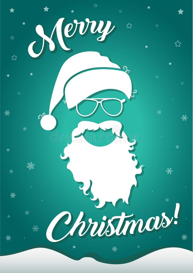 圣诞节与圣诞老人帽子和胡子的贺卡 皇族释放例证