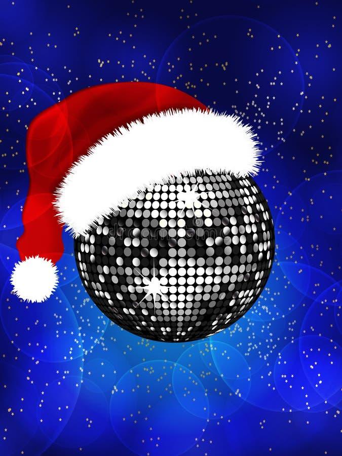 圣诞节与圣诞老人帽子的迪斯科球 库存例证