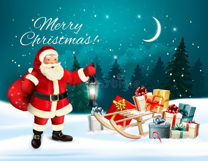 Download 圣诞节与圣诞老人的假日背景 向量例证. 插画 包括有 字符, 艺术, 雪花, 问候, 大袋, 销售额, 礼品 - 104218597