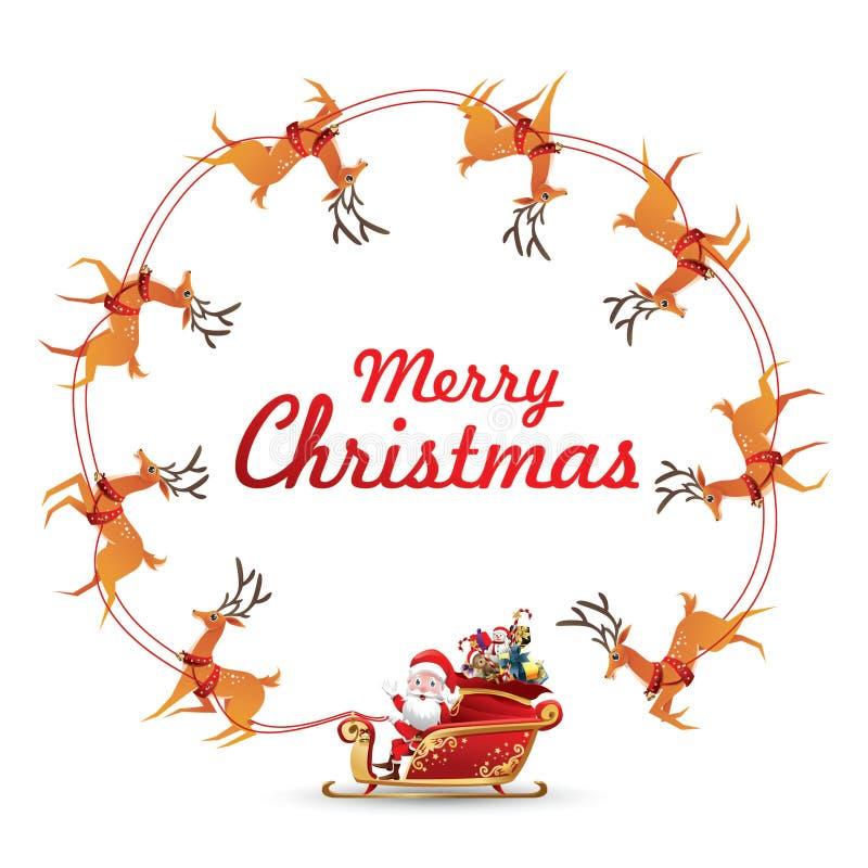 圣诞节与圣诞老人项目乘驾转动驯鹿的雪橇的花圈元素做空白的拷贝空间的框架文本的 皇族释放例证