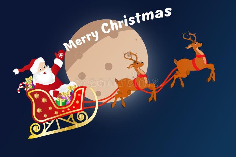 圣诞节与圣诞老人项目的贺卡在雪橇 向量例证
