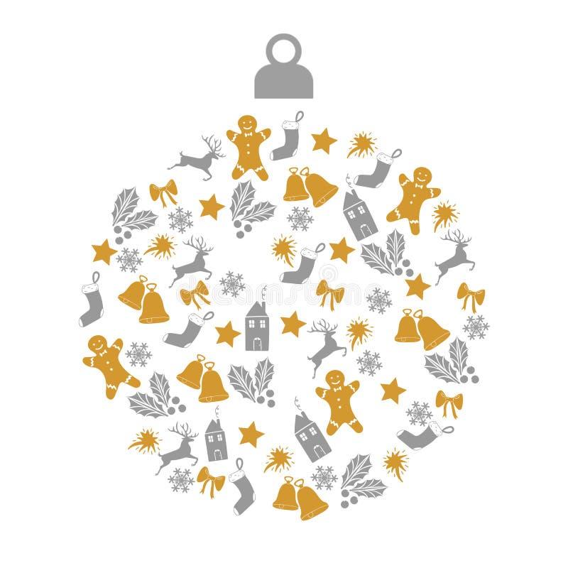 圣诞节与圣诞节球的贺卡与金子和在白色背景的灰色小装饰象 库存例证
