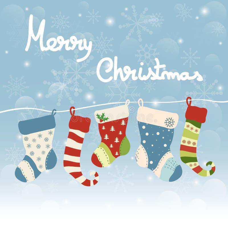 圣诞节与垂悬的袜子的贺卡 皇族释放例证