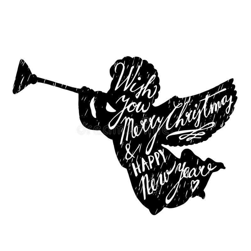 圣诞节与天使吹的喇叭和手剪影的贺卡在文本上写字, 皇族释放例证
