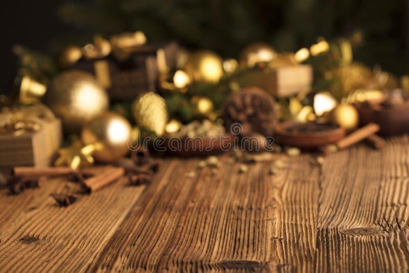 圣诞节与拷贝空间的装饰概念 库存图片