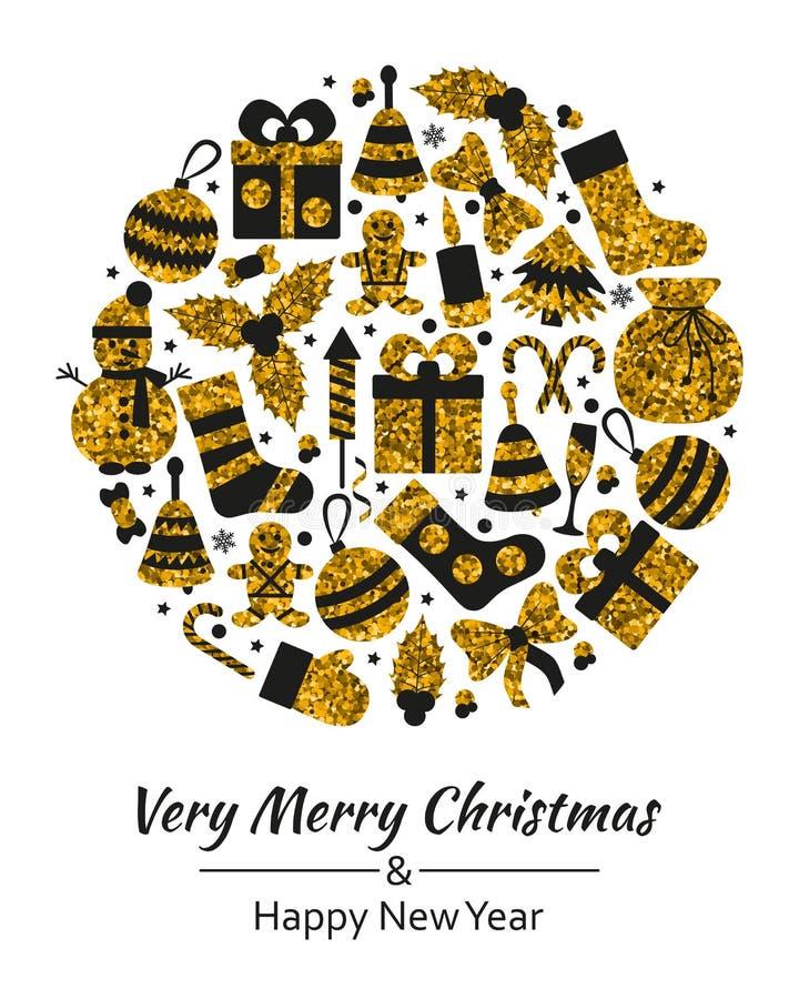 圣诞节与文本快活的Xmas和许多冬天金黄玩具的贺卡 向量例证