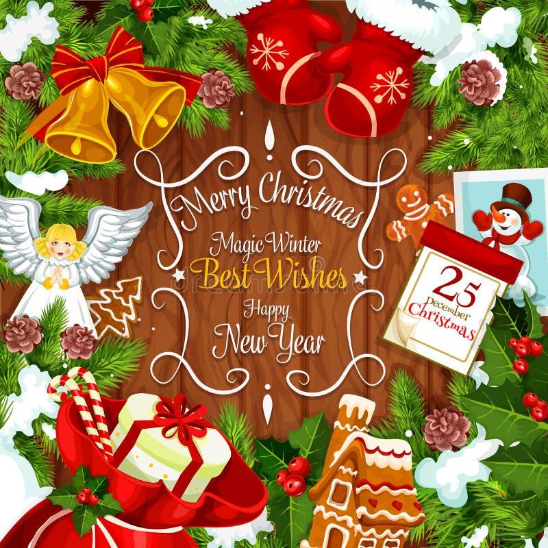 圣诞节与新年节日礼物的花圈卡片 库存例证