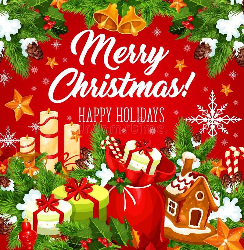 圣诞节与新年诗歌选,响铃的假日卡片 向量例证