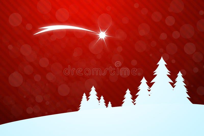 圣诞节与星的贺卡 向量例证