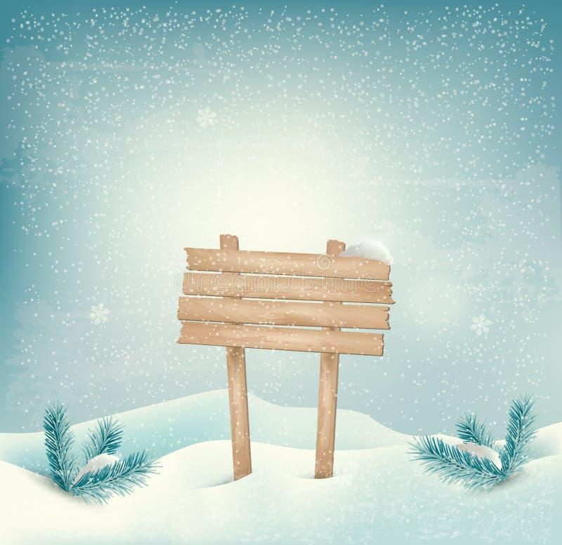 圣诞节与木标志和l的冬天背景 库存例证