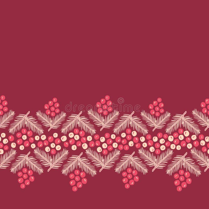 圣诞节与杉木分支华丽无缝的边界样式的霍莉莓果贺卡,包装纸的等 向量例证