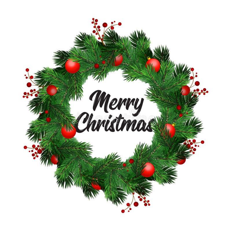 圣诞节与杉树、镶边的弓、杉木锥体、霍莉莓果和诗歌选装饰元素的花圈装饰 库存例证