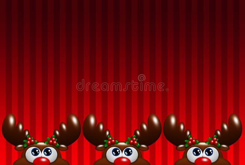 圣诞节与查寻在红色backg的霍莉的动画片驯鹿 向量例证