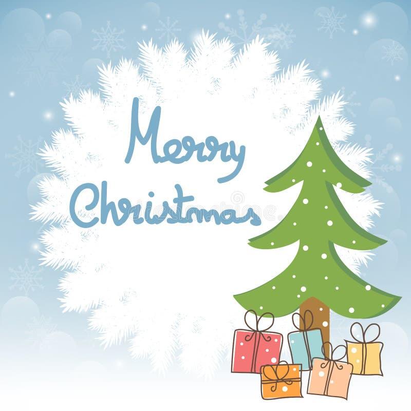 圣诞节与树和礼物的贺卡 皇族释放例证