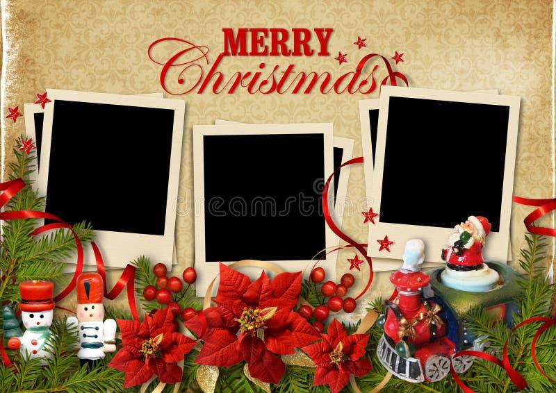 圣诞节与框架的葡萄酒背景的家庭 皇族释放例证