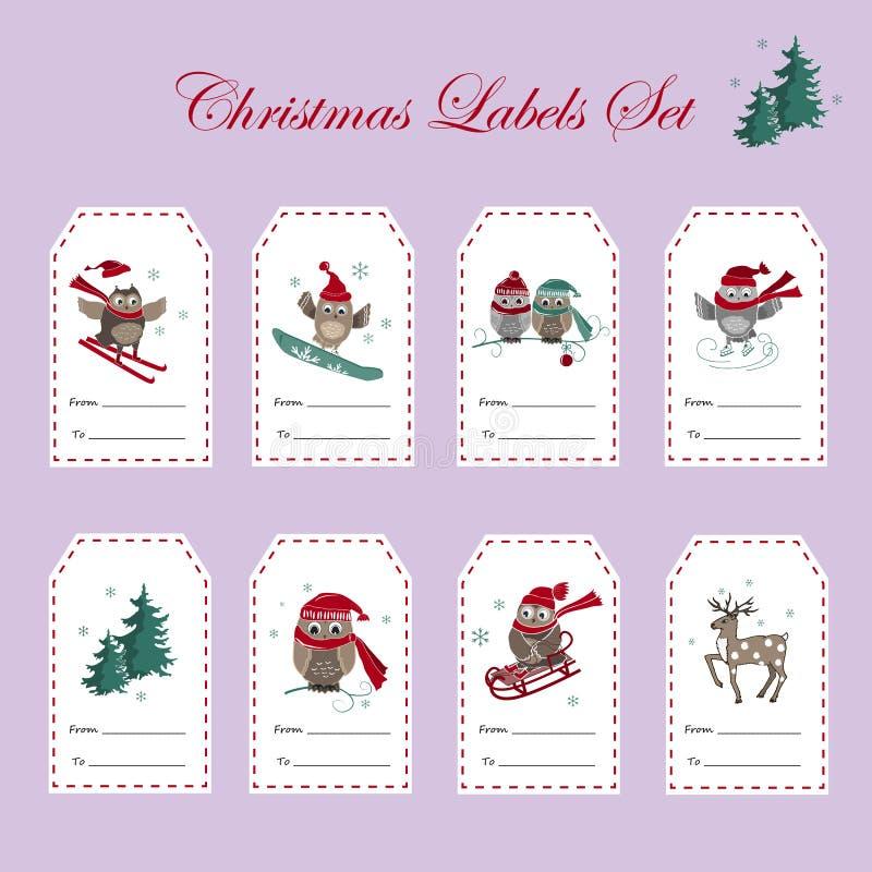 圣诞节与猫头鹰的礼物标记 动画片重点极性集向量 皇族释放例证