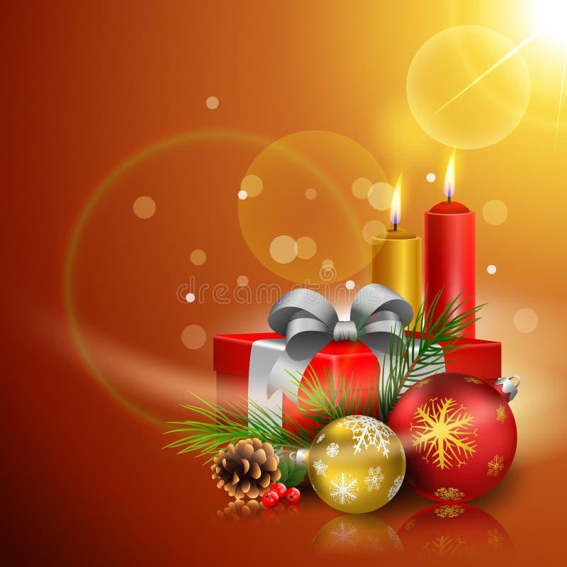 圣诞节与礼物盒、球和蜡烛的贺卡 皇族释放例证