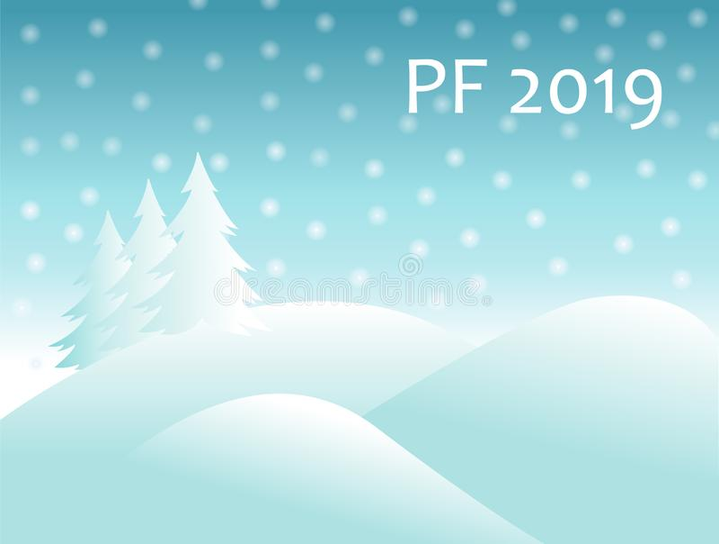 圣诞节与积雪的小山的冬天风景和与落的雪球的云杉的树和文本签署PF 2019年 新的向量年 向量例证