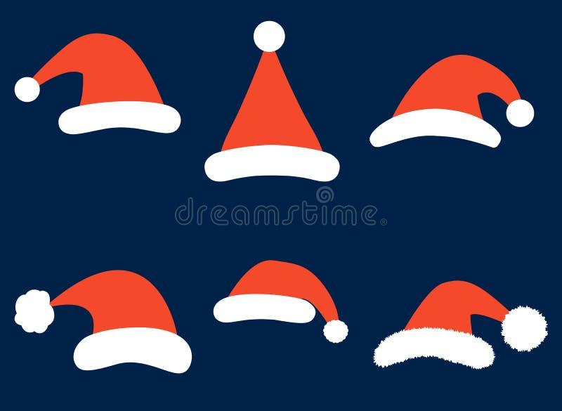 圣诞节与简单的圣诞老人帽子的传染媒介集合在平的样式 库存例证