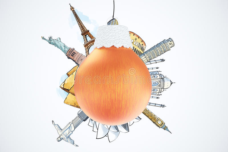 圣诞节与红色圣诞树球和landma的旅行概念 皇族释放例证