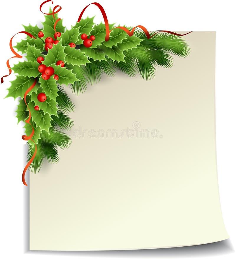 圣诞节与纸张的霍莉装饰 库存例证