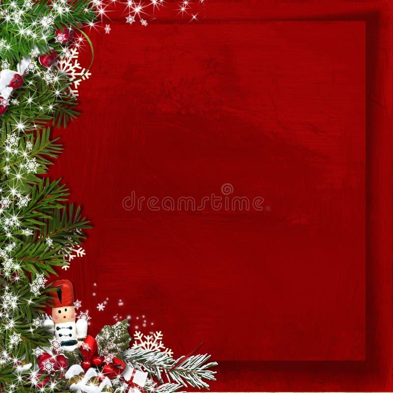 圣诞节与胡桃钳的杉树在葡萄酒红色背景 向量例证