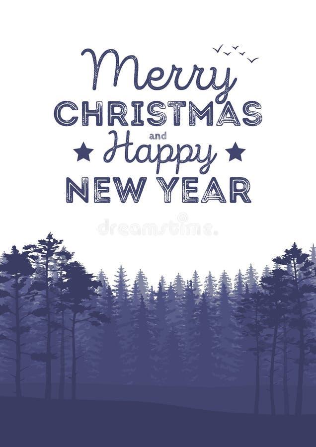 圣诞节与落的雪、森林剪影、山和信件的风景背景 库存例证