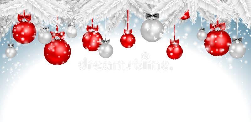 圣诞节与被隔绝的雪分支的球背景 向量例证