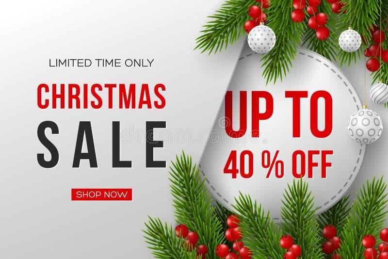 圣诞节与装饰元素的销售横幅 皇族释放例证