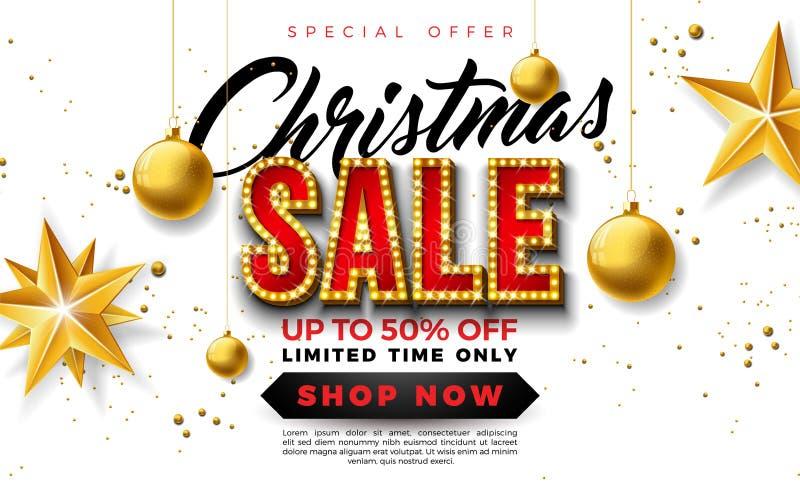 圣诞节与装饰球和电灯泡字法的销售设计在白色背景 假日传染媒介例证 库存例证