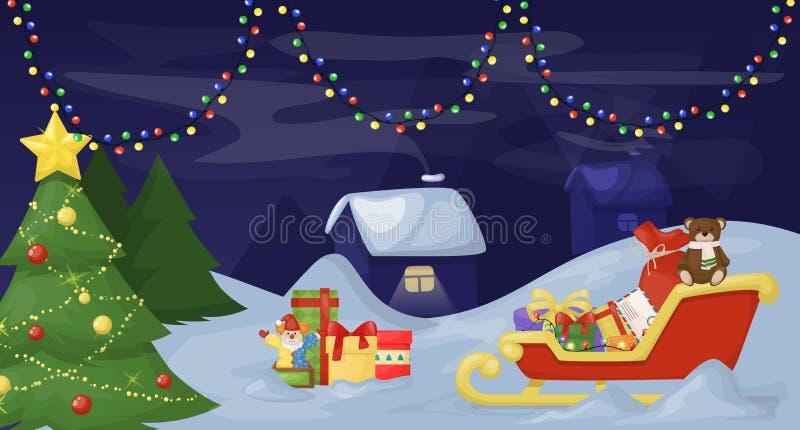 圣诞节与装饰的杉树在黑暗的多雪的背景传染媒介例证 与礼物的圣诞老人雪橇在雪 向量例证