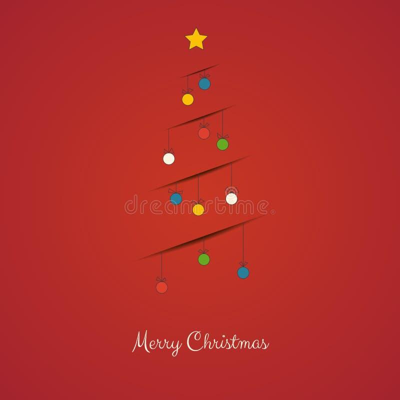 圣诞节与装饰线与阴影的圣诞树的贺卡 免版税图库摄影