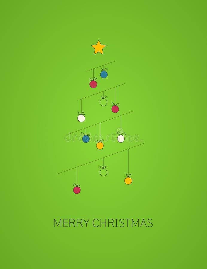 圣诞节与装饰线圣诞树的贺卡 免版税图库摄影