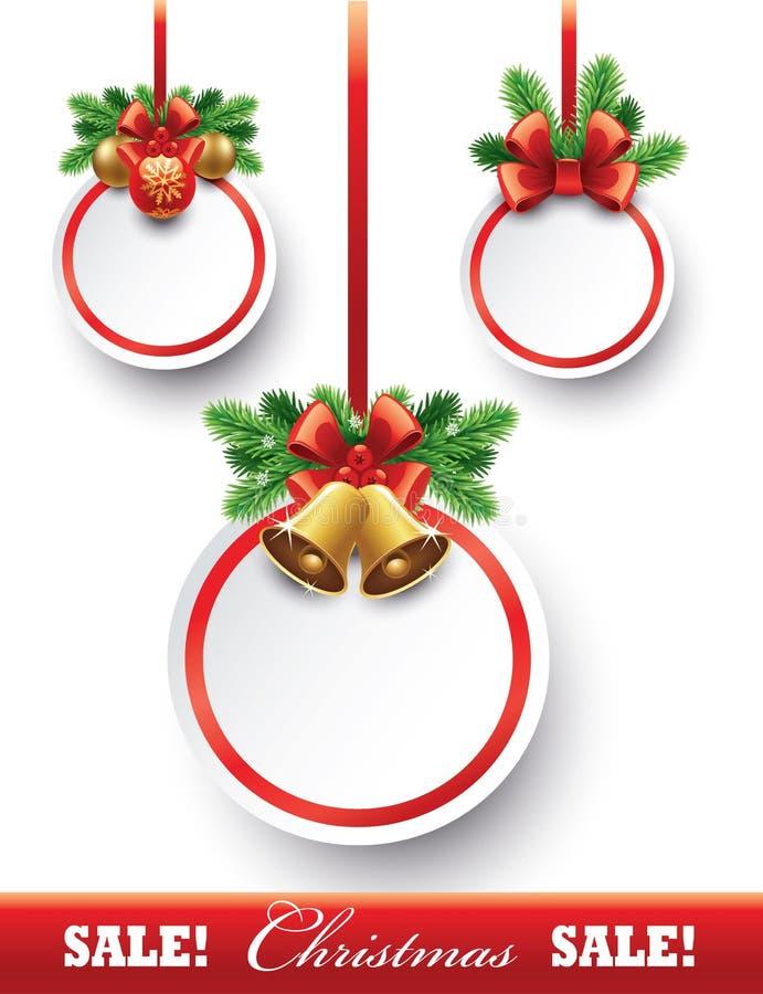 圣诞节与装饰绿色的贺卡鞠躬,红色丝带 向量例证