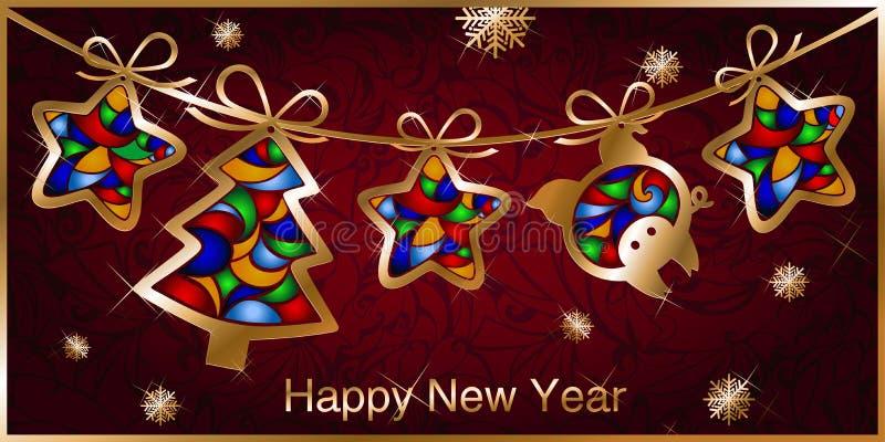 圣诞节与诗歌选的贺卡,圣诞树金黄图,星和猪 皇族释放例证