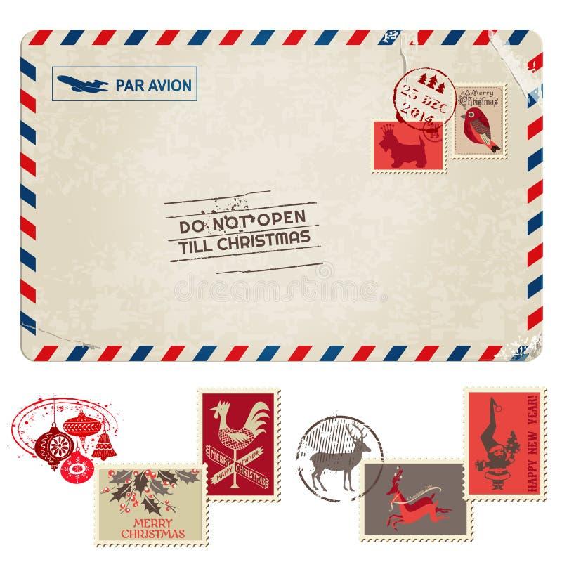 圣诞节与邮票的葡萄酒明信片 向量例证