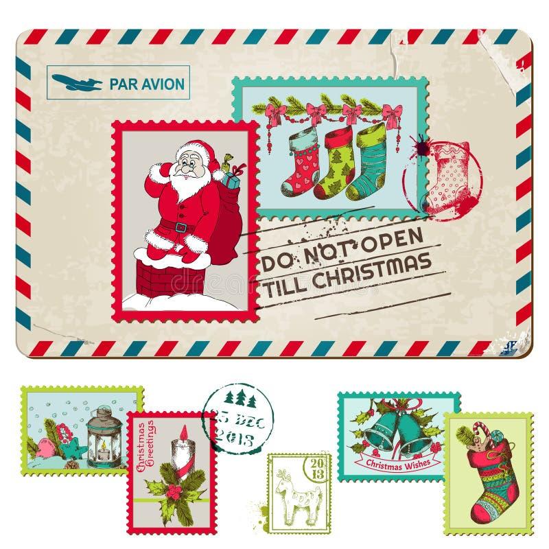 圣诞节与邮票的葡萄酒明信片 库存例证
