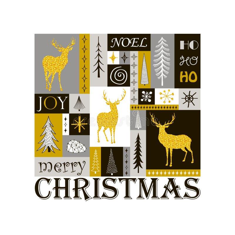 圣诞节与金黄驯鹿剪影的贺卡  库存例证