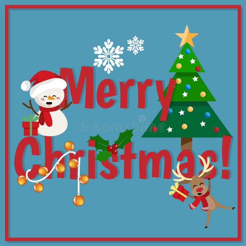圣诞节与雪人、红色鼻子驯鹿、雪花和圣诞树圣诞节动画片的节日背景  皇族释放例证