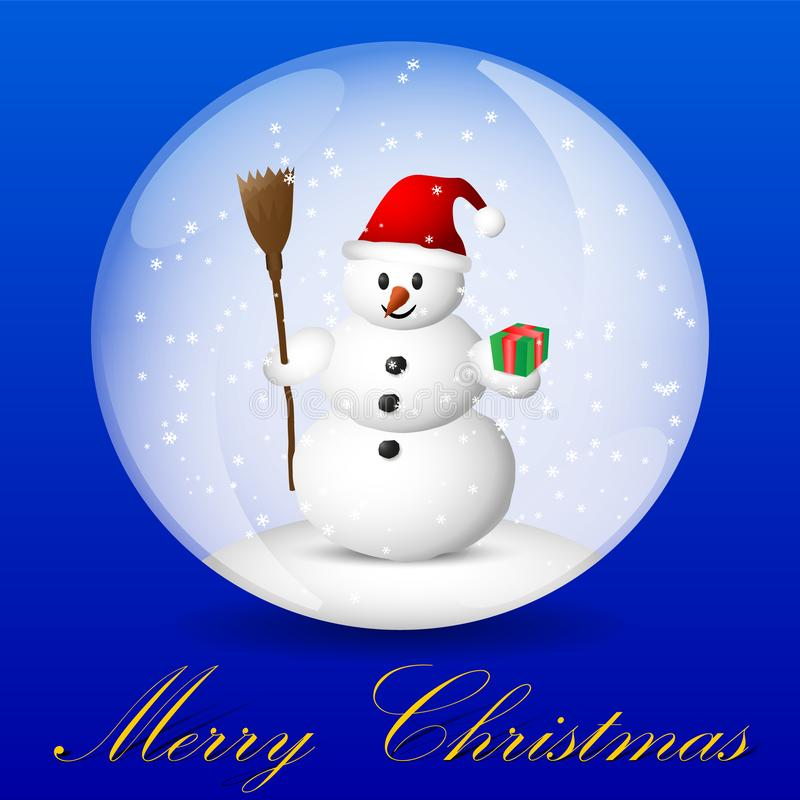 圣诞节与雪人的贺卡在雪地球里面 皇族释放例证