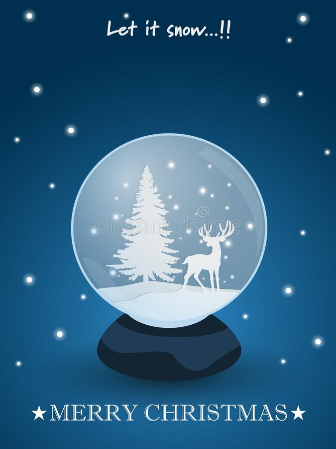 圣诞节与雪地球的节日背景与在蓝色背景的鹿和圣诞树里面 库存例证