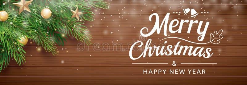 圣诞节与雪的杉树在木背景 Xmas和新年快乐横幅的,盖子,贺卡 皇族释放例证