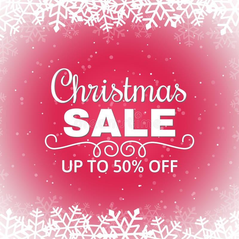 圣诞节与雪花的销售海报 在红色背景的白色题字 冬天销售横幅 也corel凹道例证向量 库存例证