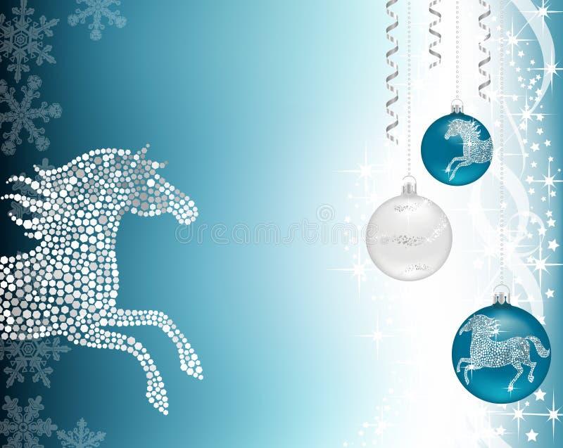 圣诞节与马的背景蓝色 皇族释放例证