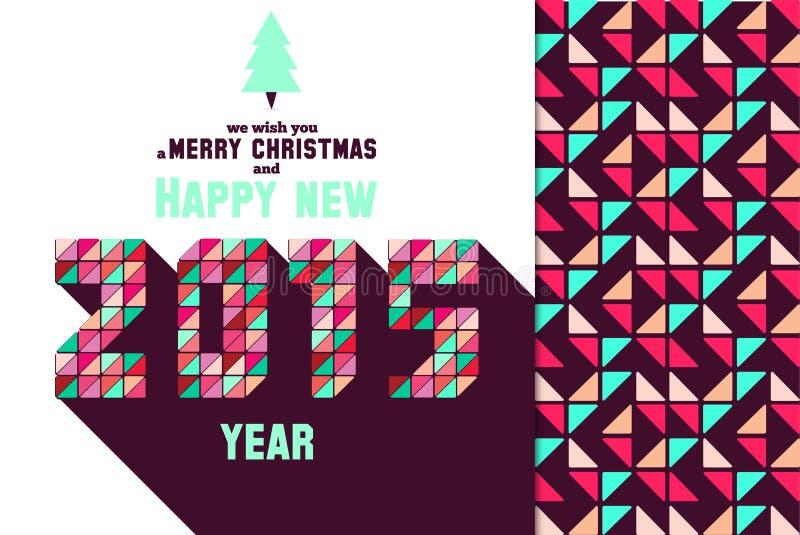 圣诞节与马赛克印刷术的贺卡 库存例证