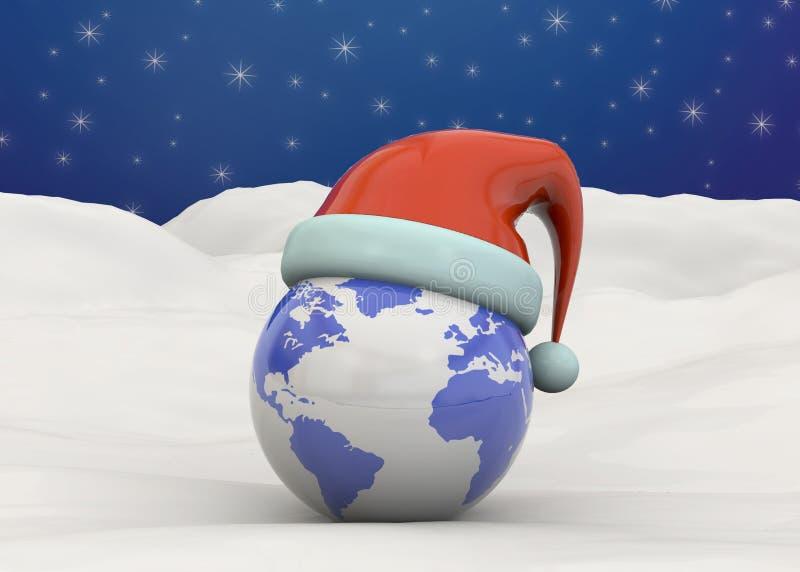圣诞节世界- 3d 库存例证