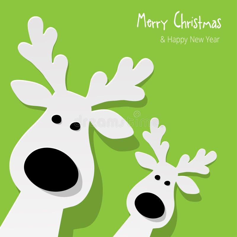 圣诞节两头驯鹿白色在绿色背景 向量例证