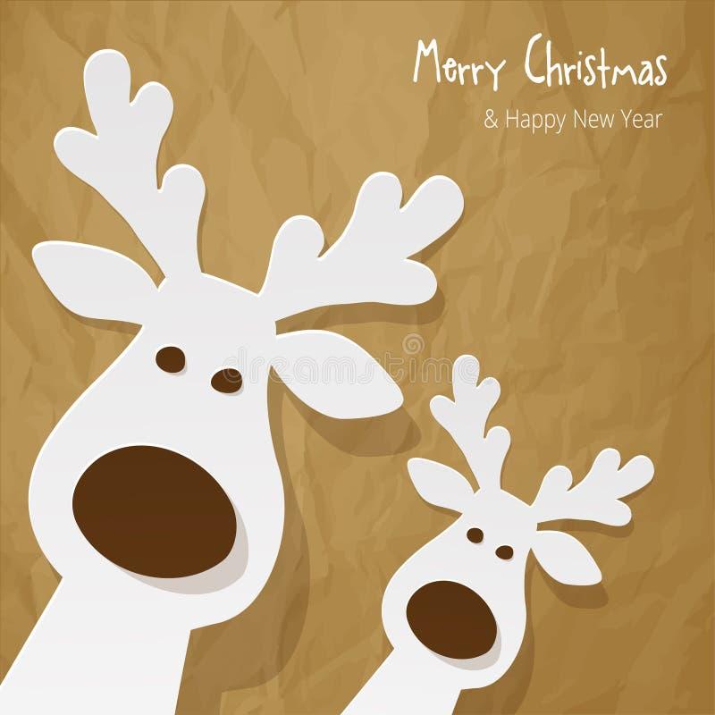 圣诞节两头驯鹿白色在被弄皱的纸棕色背景 皇族释放例证