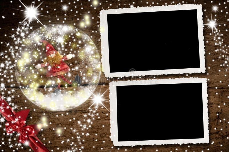 圣诞节两张照片的照片框架 免版税库存照片