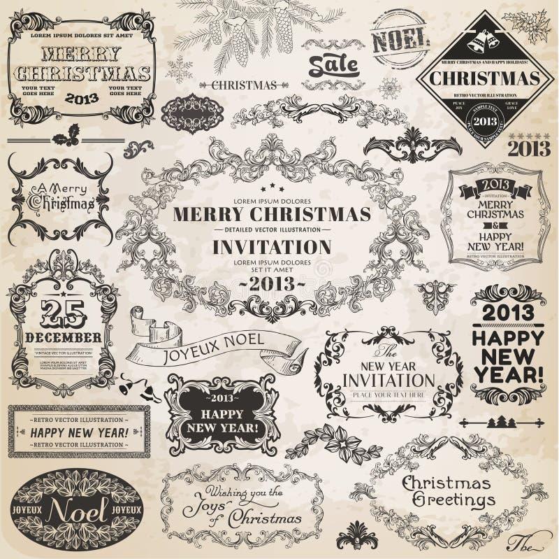 圣诞节书法设计元素 皇族释放例证